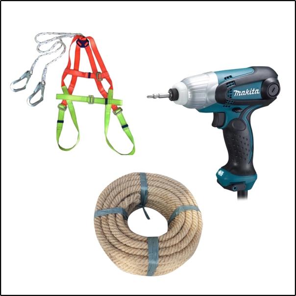 Dụng cụ cần thiết để thi công túi khí cách nhiệt an toàn.